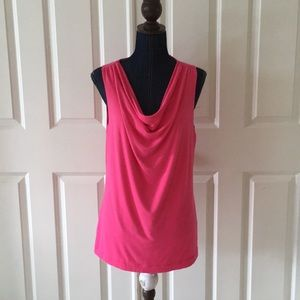 Grace womens knit pink top cowl neck sleeveless
